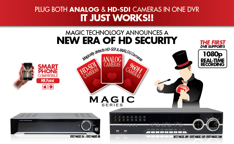 Magic Lite Series : plug both analog & HD-SDI cameras in one dvr. It just works!! / Smartphone Compatible / CatchEye apps available both iPhone & Android phones / Free DDNS service / HDMI Output